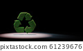 Grass Recycle Sign Shape Spotlighted on Black Background 3D Illustration 61239676