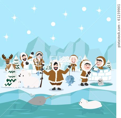 Eskimo family winter north pole arctic concept 61239901