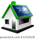 Model House with Solar Panel on the rooftop - Isolated on white 61242028