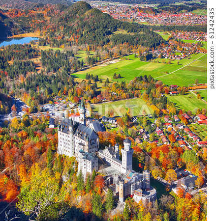 Aerial view of famous Neuschwanstein Castle in 61242435