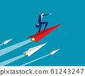 Businessman up with paper plane. Concept business 61243247