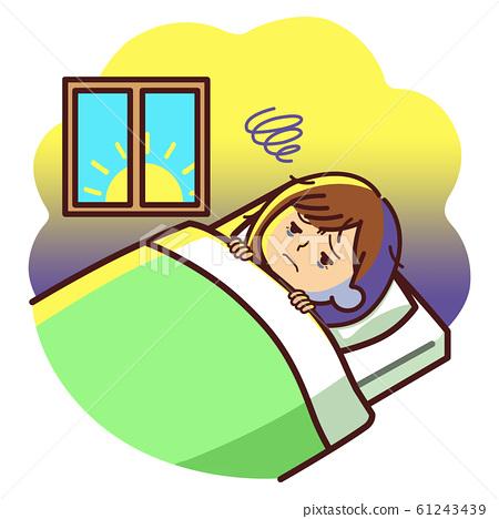 直到早上插圖無法入睡的失眠女人 61243439