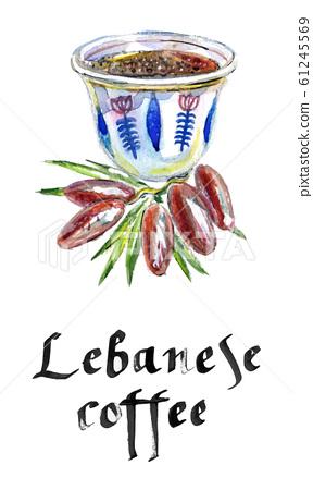 Mediterranean, lebanese coffee cup, watercolor hand drawn illustration 61245569