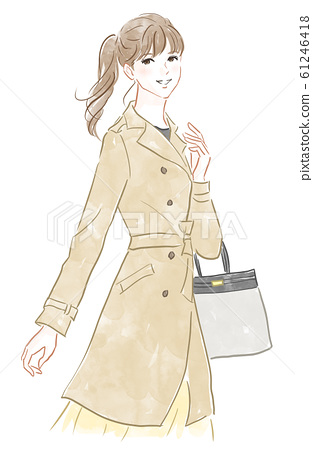 트렌치 코트를 입은 여성 61246418