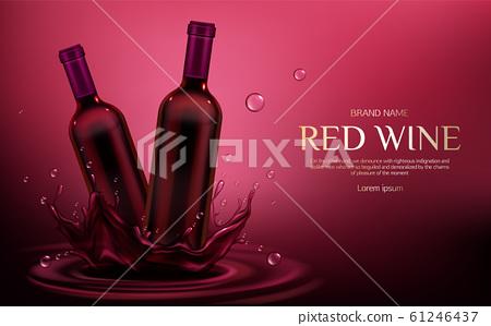 Red wine bottles mockup, flasks with alcohol drink 61246437