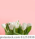 Bouquet of white tulip on pink. Floral pattern. 61253936