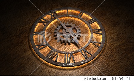 Time laps of an old watch. The hands of the clock spin quickly. Indicate the time is 6:00. Clock Time 6:00. 6 am, 6 pm. 3D illustration. 61254371