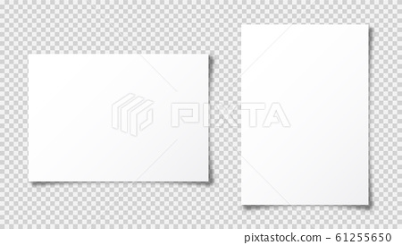 Realistic blank paper sheet with shadow in A4 format isolated on transparent checkered background 61255650