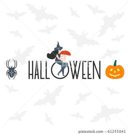 Creepy elements for Halloween 2020 Party card 61255841