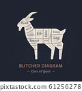 Cutting goat meat painted in a vector. 61256278