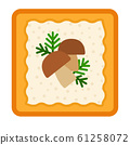 Sandwich with cheese, dill and mushrooms vector icon flat isolated 61258072