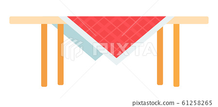 Table with red checked tablecloth vector icon flat isolated 61258265