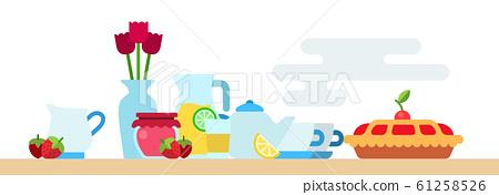 Afternoon tea party with biscuit, hot tea pot, jam jar, limonade, flowers vase and berries vector flat 61258526