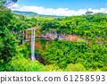 Chamarel Waterfall in lush tropical greenery of Mauritius, Indian Ocean 61258593