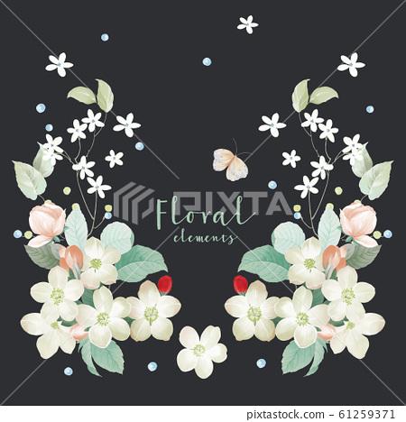 顏色豐富優雅的水彩花卉 61259371