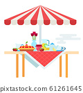 Table with umbrella and a set for tea drinking vector icon flat isolated 61261645