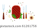 Beefsteak with herbs and cutlery vector flat isolated 61261756