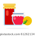 Jars with berry jam and yellow apple flat isolated 61262134