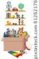 Shelf and box full of toys on white background 61262176