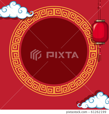 Round frame on chinese pattern background 61262199