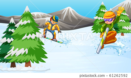 Background scene with athletes snowboarding in the 61262592