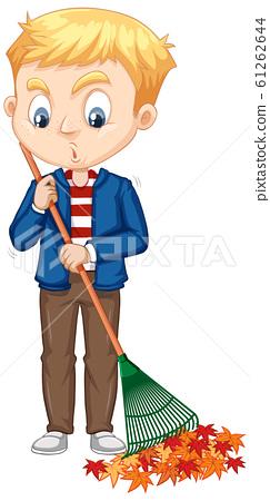 Boy raking leaves on isolated background 61262644