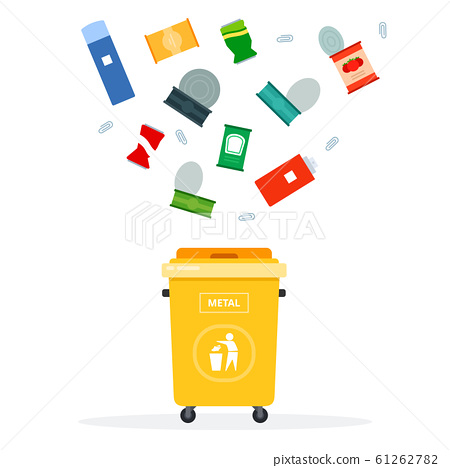 Trash yellow can for metal waste vector flat isolated flat isolated 61262782