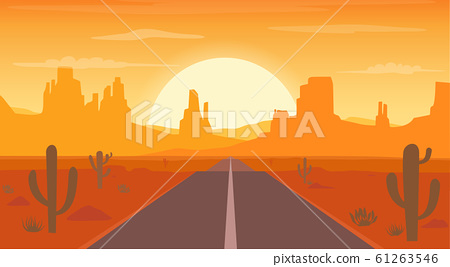 Road to desert landscape at sunset with cactus  61263546