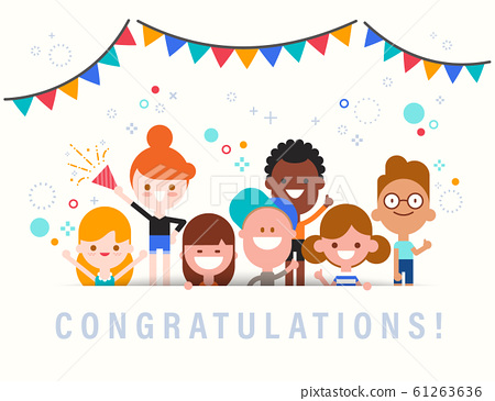 Congratulations! Cute celebration banner with group of diversity kids.  61263636