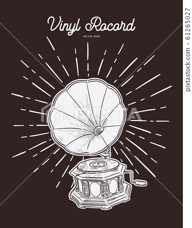 gramophone vintage hand drawn vector stock illustration 61265027 pixta pixta