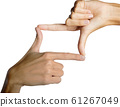 Closeup photo view concept idea hand geaturing finger body part symbol is sqaure focus perspective that mean sign is victory for success positiveframe on white isolate on background 61267049