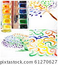 Watercolor collage - handmade ornament and trees 61270627