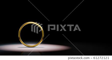 Golden Ring Frame Spotlighted on Black Background 61272121