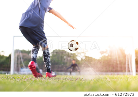 team soccer footballer get the ball to free kick 61272972