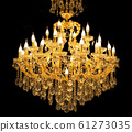 Close up on crystal of contemporary chandelier, 61273035