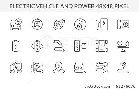 electric vehicle power icon 61276076