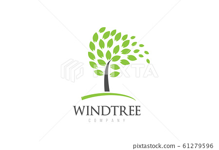Tree logo design with leafs icon template elements 61279596