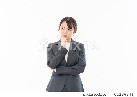 Business woman white background portrait 61286241