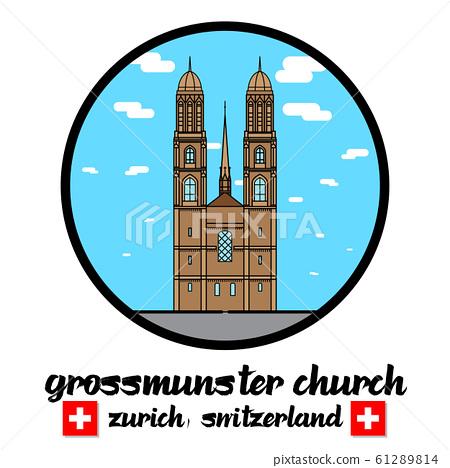 Circle Icon Grossmunster church in zurich Switzerland. icon 61289814