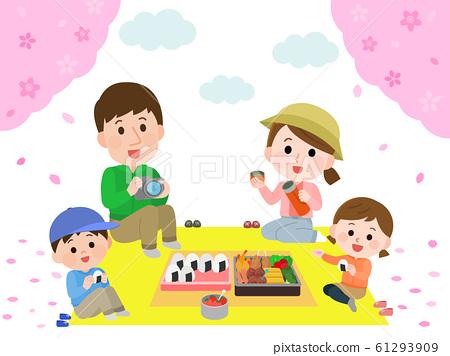 꽃놀이 하이킹 벚꽃 도시락을 먹는 가족 일러스트 61293909