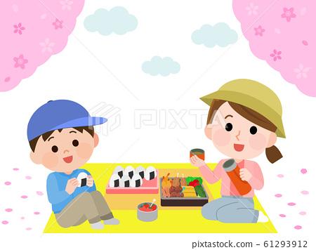 꽃놀이 하이킹 벚꽃 도시락을 먹을 부자 일러스트 61293912