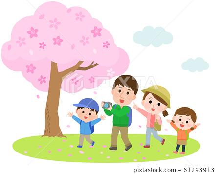 觀賞櫻花,遠足,櫻花樹,家庭,插圖 61293913
