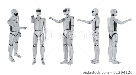set of artificial intelligence cyborgs or robots 61294126