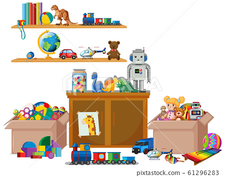 Shelf full of books and toys on white background 61296283
