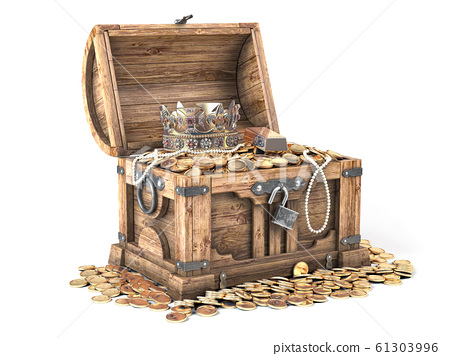 Open treasure chest filled with golden coins, gold 61303996