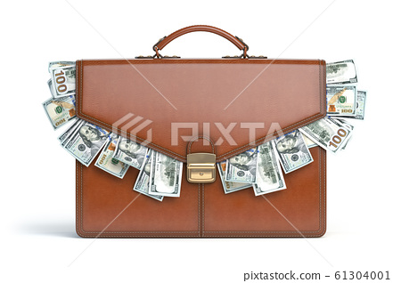 Briefcase full of dollars isolated on white 61304001