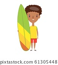 Young man in shorts and t-shirt standing, holding modern colorful surfboard on white background. 61305448