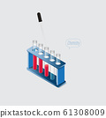 Isometric chemical laboratory equipments,Dropper and some transparent testtubes 61308009