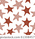 Seastars seamless pattern. Hand drawn vector 61308457