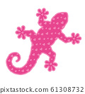 Art with pink gecko silhouette with heart shapes 61308732